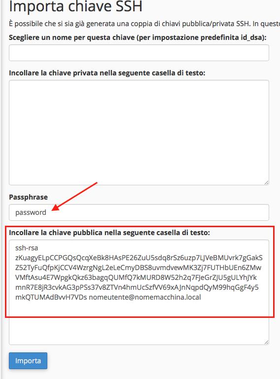 chiave pubblica ssh in cPanel